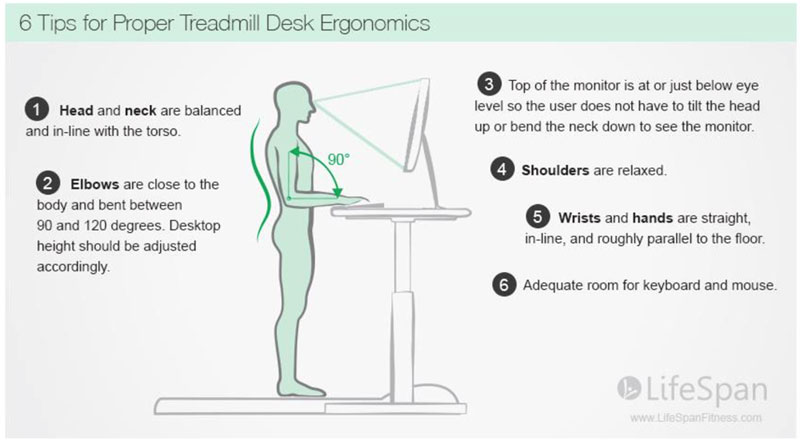 Treadmill Desk Ergonomics Diagram