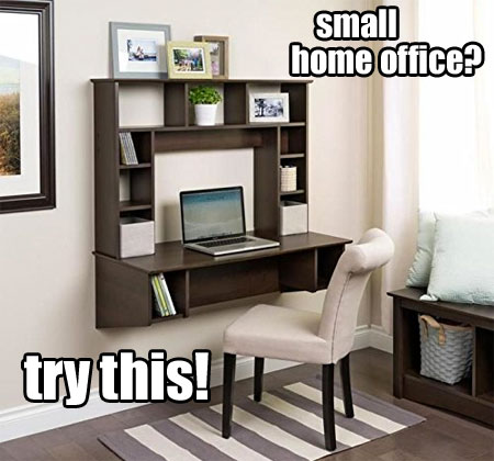 Standing Floating Wall Desk In Small Home Office