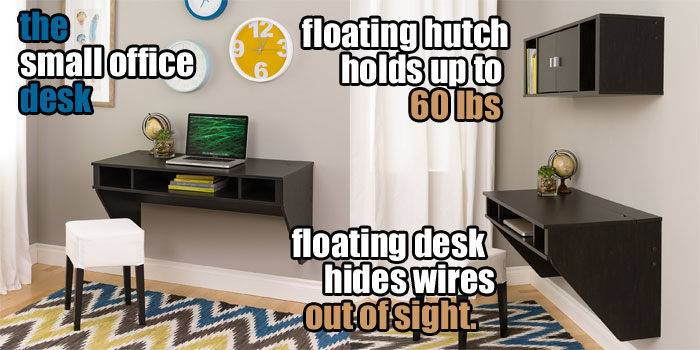 small office desk idea with floating hutch for extra storage