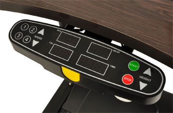Walking Desk console provides distance, calories, walking time and speed
