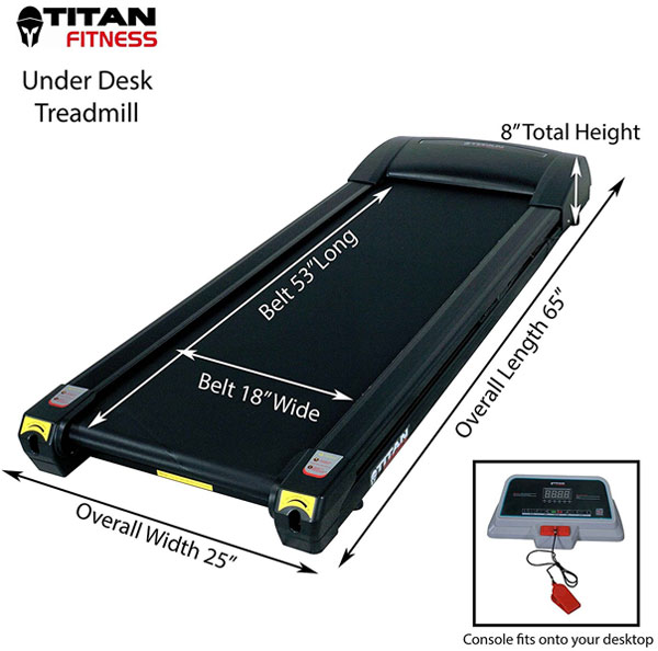 Dimensions of Titan Fitness Under Desk Walking Treadmill