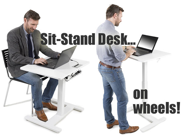 FitDesk Sit-Stand Desk on Wheels